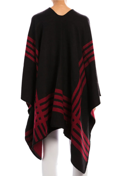 Reversible Black or Burgundy Poncho Shawl with Stripe