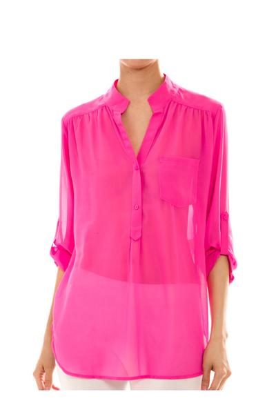 Chiffon Blouse with roll up sleeves