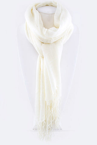 Crinkle Fringe Scarf in Three Colors