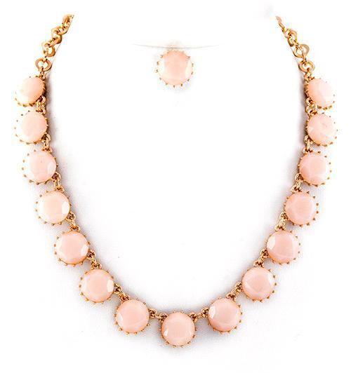Jeweled Necklace Set in Pink Cream
