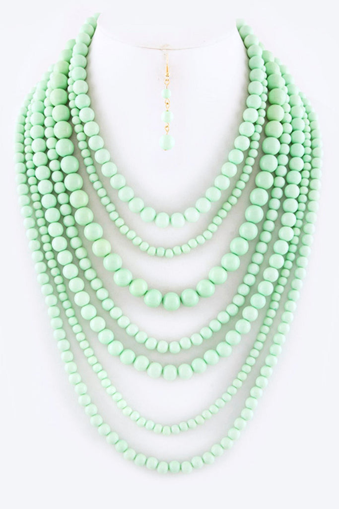 Layered Beads Necklace Set