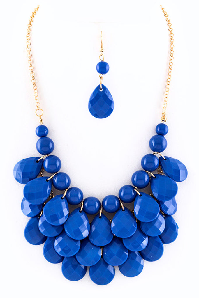 Layered Teardrop Necklace Set in Blue or Fuchsia