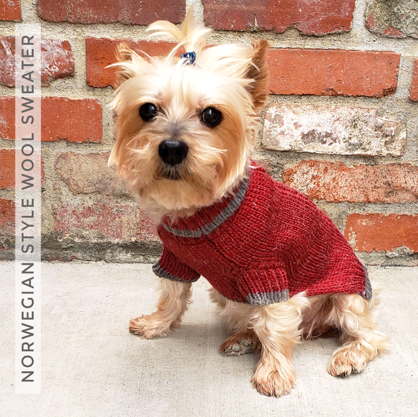 Norwegian Style Wool Blend Dog Cat Sweater XS - M in Grey