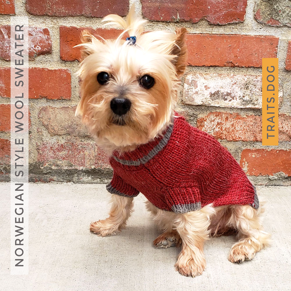 Norwegian Style Wool Blend Dog Cat Sweater XS ~ L in Burgundy