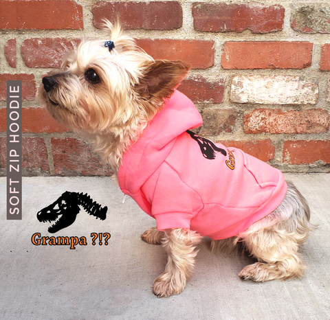 Perfect for your little T. Rex. Warm fleece, superior quality dog's fleece zip hoodie with cute graphic art is made to fit your dog's body comfortably. Perfect for all year round. Bright, fun and adorable.