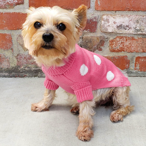 Soft, well-made and adorable Pink Polka Dot Dog Cat Sweater for small breeds. Keeps your dog, cat or other pet warm this holiday season or throughout the year. Comfortable and super cozy fit.