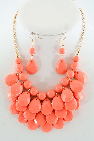Layered Teardrop Necklace Set in Two Colors