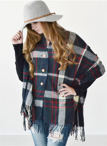 Plaid Poncho Shawl Scarf with Buttons