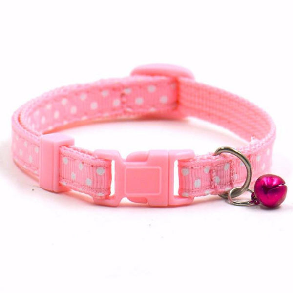 Lightweight and well-made Small Dog Cat Collar with a Bell: a polka-dot pattern or solid pattern with reflective stripe. For a cat, kitten, little puppy, a teacup or any four-legged friend.
