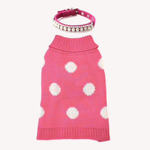 Power the Pink and Bring the Bling! Pair the TRAITS Soft, well-made and adorable Pink Polka Dot Dog Cat Sweater with the Pearl and Rhinestones dress-up Collar. This Splendor Dress-Up Set is made with LOVE for teacups and small breeds. Don't forget to check the measurements.