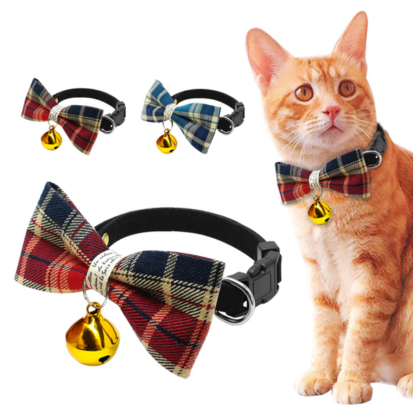 Classic Plaid Bowtie Collar for Small Pet with Cute Bell