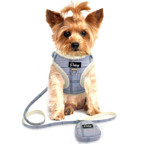 Dual Clip Plaid Harness with Leash and Treat Zip Bag Set - No-Pull, No-Choke with Soft Sherpa Trim for Small dog or cat.