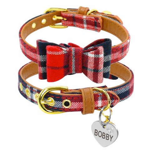 Classic Plaid Bowtie Collar for Small Pet with Cute ID Tag and Bell