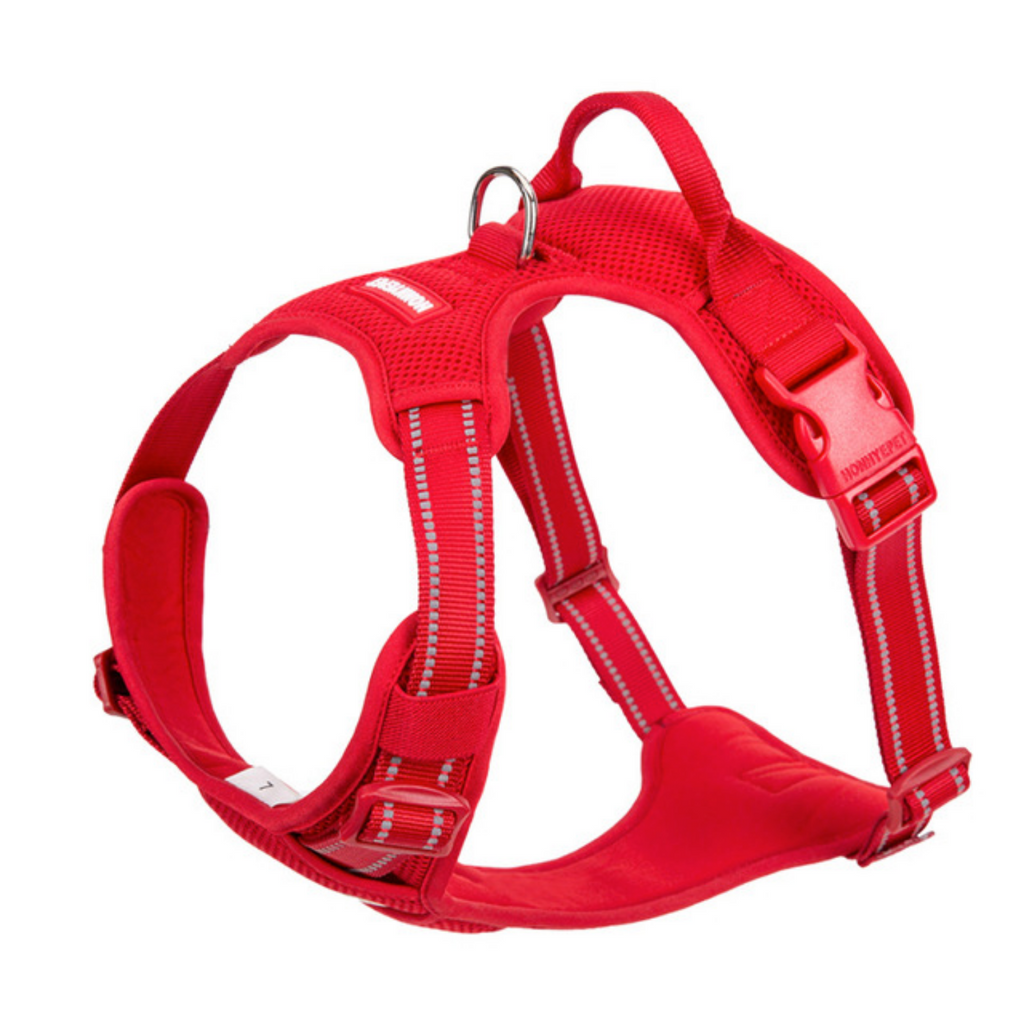 Well-constructed Reflective, Dual Clip Vest Dog's harness with Handle is made of premium quality, weatherproof materials and durable hardware. No Pull, No Choke - Safe, comfortable, convenient and durable for walking, running, hiking and riding in vehicles.