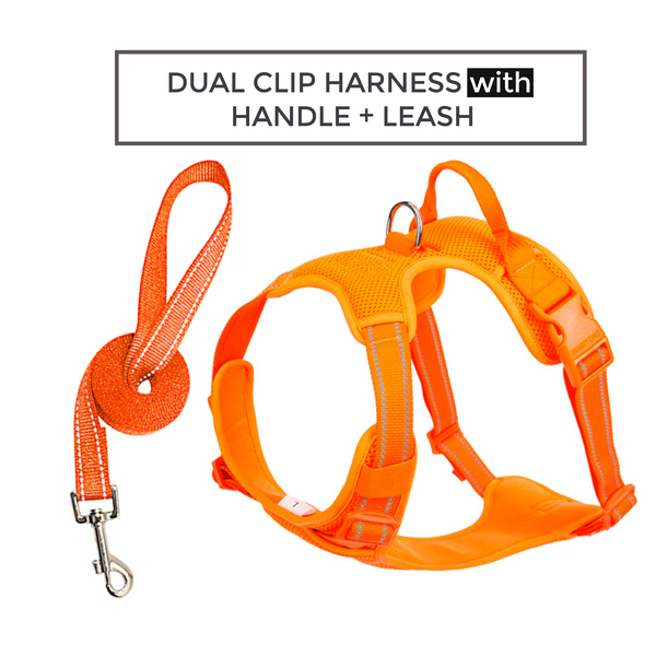 Well-constructed Reflective, Dual Clip Vest Dog's harness with Handle and Leash are made of premium quality, weatherproof materials and durable hardware. No Pull, No Choke - Safe, comfortable, convenient and durable for walking, running, hiking and riding in vehicles.