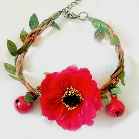 Handmade Red Flower Garland Wedding Collar for Small Pet