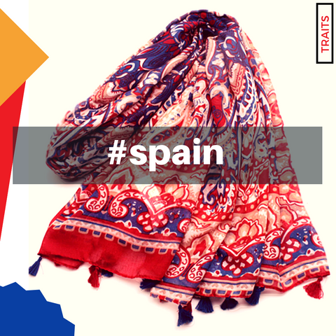 Spanish Motif Bohemian Floral Print Scarf Shawl Wrap with Tassels - Deep Red and Blue
