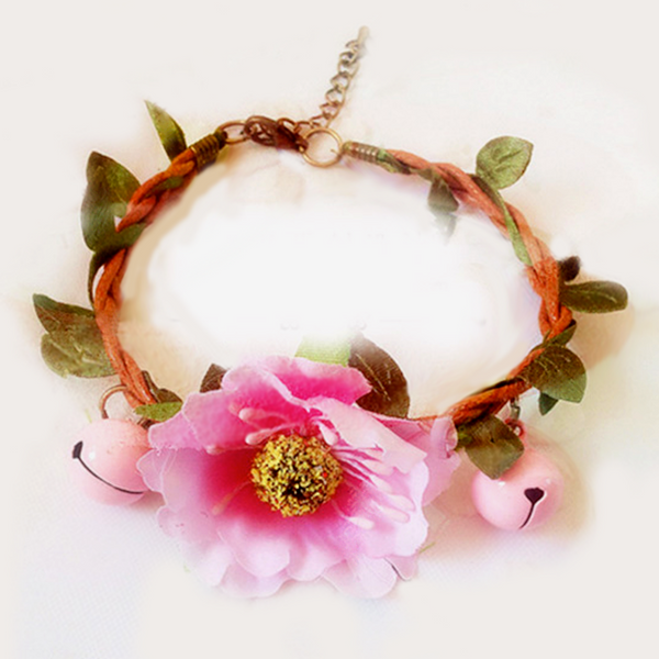 Handmade Pink Flower Garland Wedding Collar for Small Pet