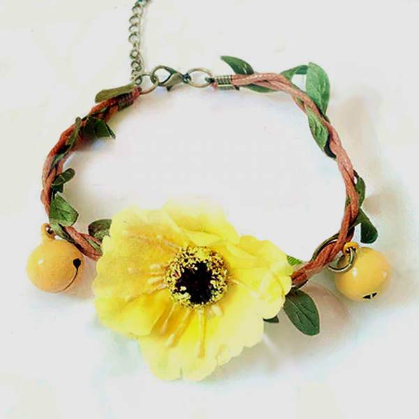Handmade Yellow Flower Garland Wedding Collar for Small Pet