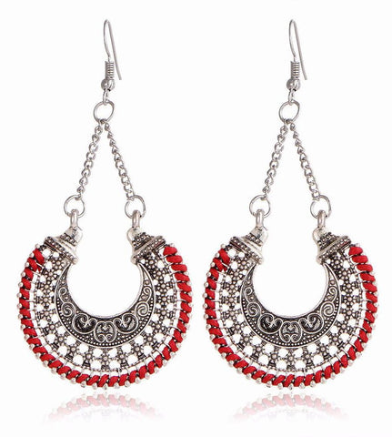 Bohemian Tibetan Vintage Round Drop Style Earrings with Fun Color Trim