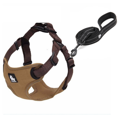 Well-constructed Reflective Dog's Vest sport harness and Leash is made of premium quality, weatherproof materials and durable hardware. No pull, No choke - Safe, comfortable, convenient and durable for walking, running, hiking and riding in vehicles. NOT RECOMMENDED FOR DOGS UNDER 10 lbs.