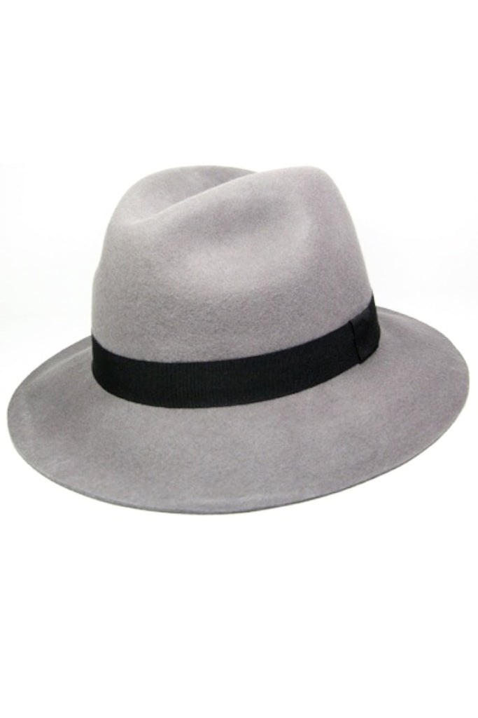 100% Wool Felt Hat in grey and navy