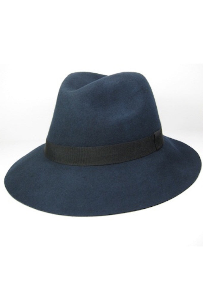 b39bba15c3a50 100% Wool Felt Hat in grey and navy – TRAITS