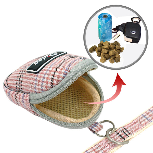 Preppy Puppy - Dual Clip Plaid Harness with Leash and Treat Zip Bag Set