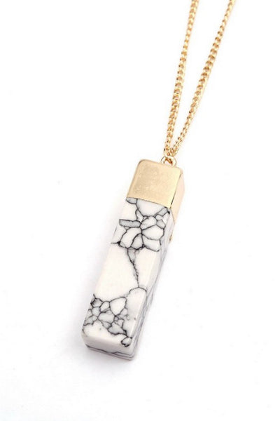 White Marbled Stone Pendant Necklace Set