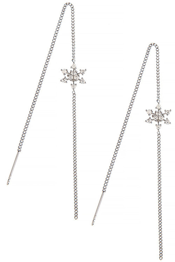 Snowflake CZ Threader Earrings