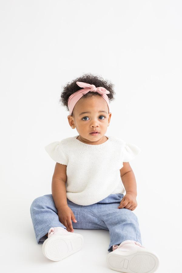 Baby Headband w Bow - Blush