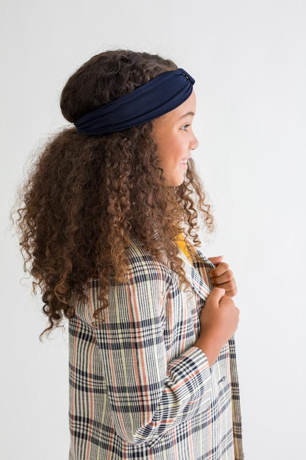 Kid Headband w Cuff - Navy