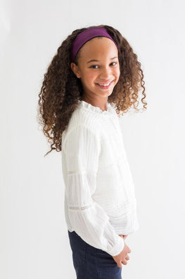 Kid Satin-Lined Headband - Purple