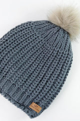 Dark Gray Slouchy Warm Slap w/ Pom
