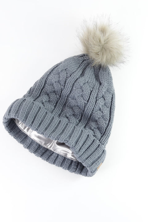 Gray Foldover Warm Slap w/ Pom