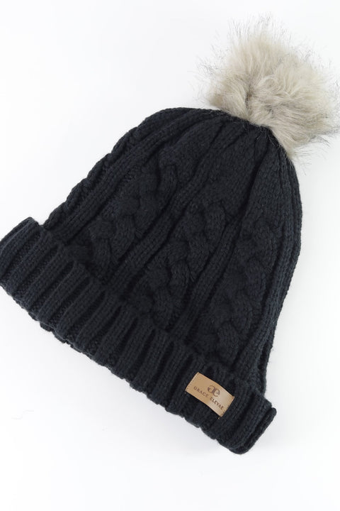 Black Foldover Warm Slap w/ Pom