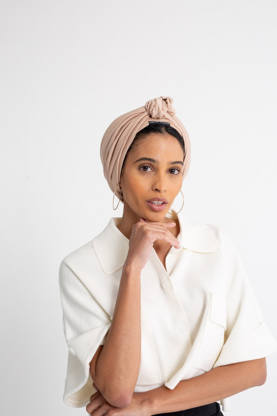 Walnut Satin-Lined Knot Turban
