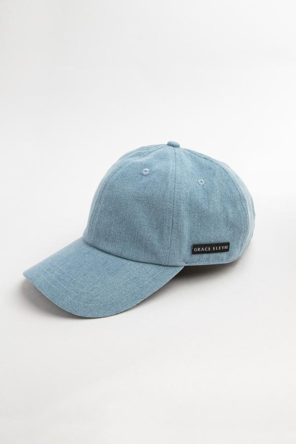 grace eleyae light denim baseball hat