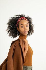 Silk Turban Style Headband - Red Curve