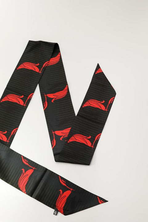 Black and Red Floral Satin Scarf