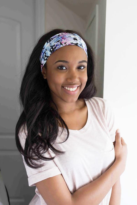 Grace Eleyae Headbands Jersey Knit Headband - Black Floral