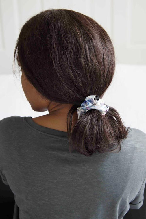 Thin Satin Scrunchie - White Floral