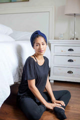Navy Satin-Lined Knot Turban