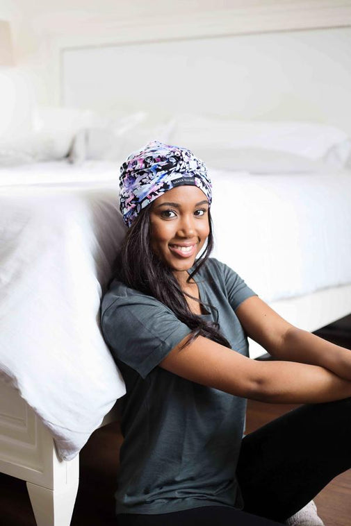 Black Floral Satin-Lined Knot Turban