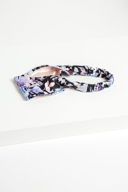 Grace Eleyae Headbands Satin-Lined Headband - Black Floral