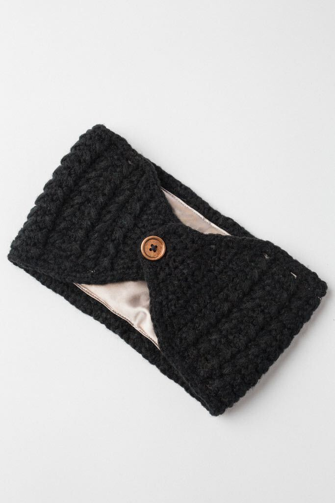 Black Adjustable Warm Headband