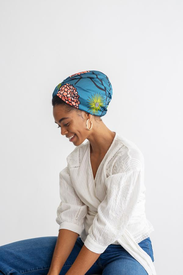 All Silk Turban - Blue Peach Floral