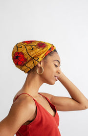 All Silk Turban - Mustard Floral