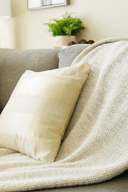 Ivory Striped Throw Pillowcase