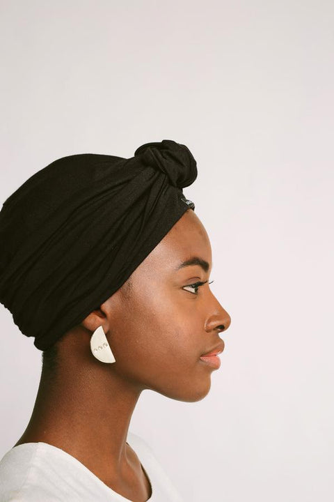Black Satin-Lined Knot Turban